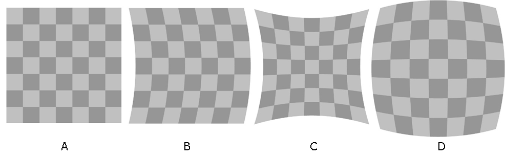 A - normal checkerboard; B - checkerboard arcs slightly to the right; C - checkerboard is shrinking from the center; D - checkerboard is expanding from the center